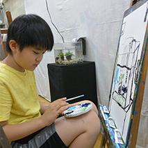 三角のコラージュ画/絵画 熱帯魚「ベタ」